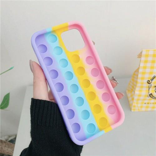 3D Fidget Pop It Toy Rainbow Silicone Case For iPhone 12/ 12 Pro