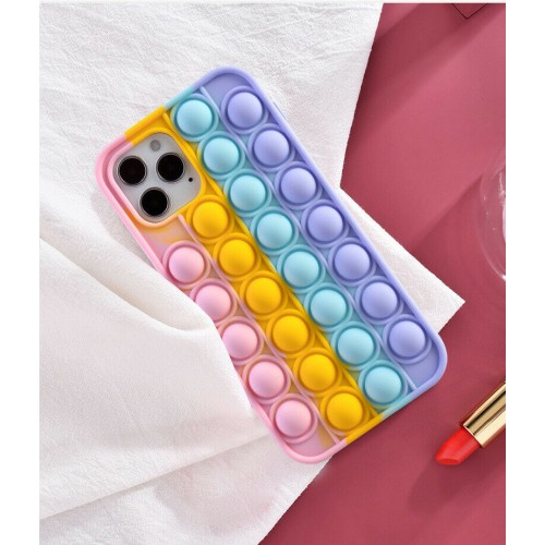 3D Fidget Pop It Toy Rainbow Silicone Case For iPhone 12 Pro Max