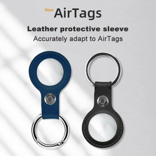 Apple AirTag Leather Case Black