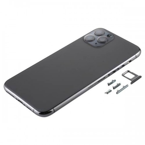 For iPhone 11 Pro Metal Frame Back Chassis Housing Rear Glass Cover Replacement Space Grey