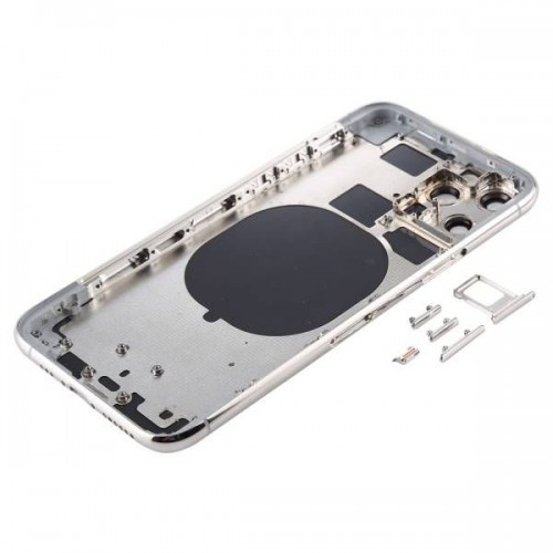 For iPhone 11 Pro Metal Frame Back Chassis Housing Rear Glass Cover Replacement Silver