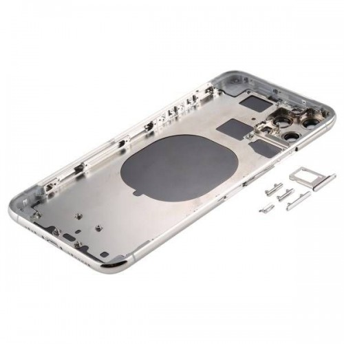 For iPhone 11 Pro Max Metal Frame Back Chassis Housing Rear Glass Cover Replacement Silver