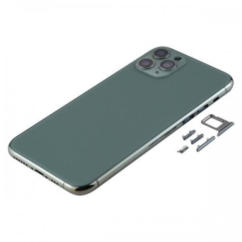 For iPhone 11 Pro Max Metal Frame Back Chassis Housing Rear Glass Cover Replacement Midnight Green