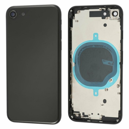 For Apple iPhone SE 2020 Metal Frame Back Chassis Housing Rear Glass Cover Replacement Black
