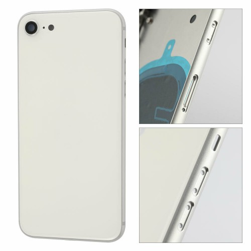 For Apple iPhone SE 2020 Metal Frame Back Chassis Housing Rear Glass Cover Replacement White