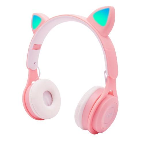 Bluetooth Wireless Cat Ear Headphone with LED Light Cat Ear Pink