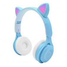 Bluetooth Wireless Cat Ear Headphone with LED Light Cat Ear Blue