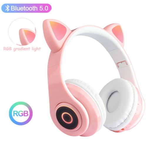 Wireless Bluetooth Headset with LED Lights Cat Ear Pink