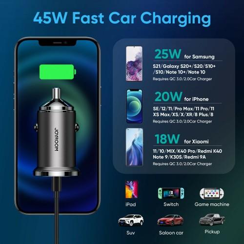 Joyroom 45W Fast Car Charger Type-C USB Cigarette Dual Adapter