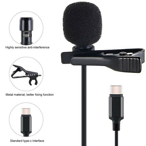 Lavalier Microphone Stereo Mic For Live Stream Type-c
