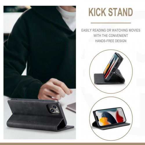 Caseme-013 Magnetic Card Case For iPhone 13 - Black