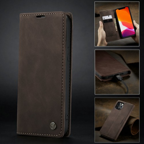 Caseme-013 Magnetic Card Case For iPhone 13 Pro - Brown