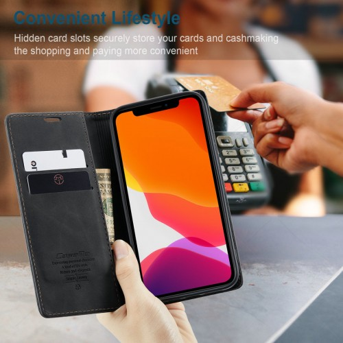 Caseme-013 Magnetic Card Case For iPhone 13 Pro Max - Black