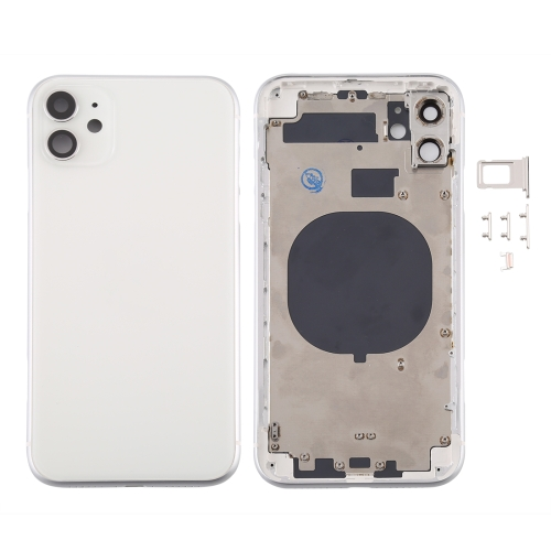 For iPhone 11 Metal Frame Back Chassis Housing Rear Glass Cover Replacement White