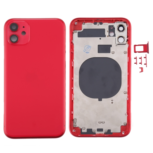 For iPhone 11 Metal Frame Back Chassis Housing Rear Glass Cover Replacement Red