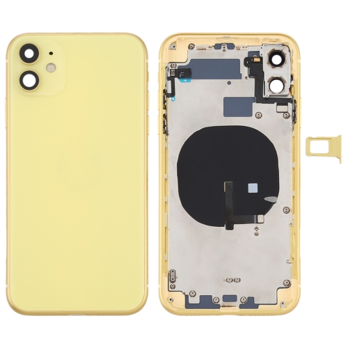 For iPhone 11 Metal Frame Back Chassis Housing Rear Glass Cover Replacement Yellow