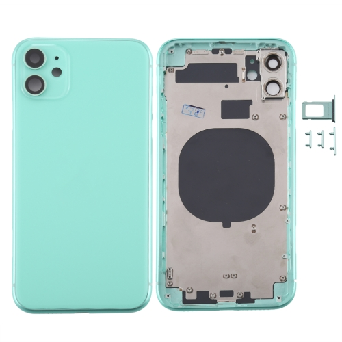 For iPhone 11 Metal Frame Back Chassis Housing Rear Glass Cover Replacement Green