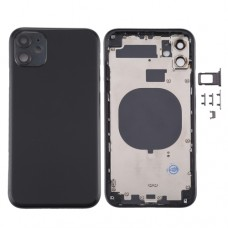 For iPhone 11 Metal Frame Back Chassis Housing Rear Glass Cover Replacement Black
