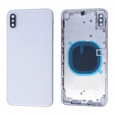 """For iPhone XS 5.8"""" Metal Frame Back Chassis Housing Rear Glass Cover Replacement White"""