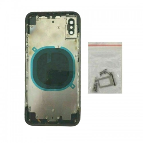 """For iPhone XS 5.8"""" Metal Frame Back Chassis Housing Rear Glass Cover Replacement Black"""