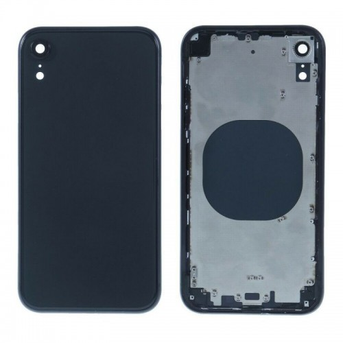 """For iPhone XR 6.1"""" Metal Frame Back Chassis Housing Rear Glass Cover Replacement Black"""