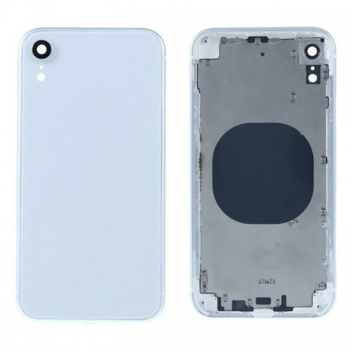 """For iPhone XR 6.1"""" Metal Frame Back Chassis Housing Rear Glass Cover Replacement White"""