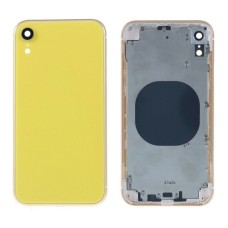 """For iPhone XR 6.1"""" Metal Frame Back Chassis Housing Rear Glass Cover Replacement Yellow"""