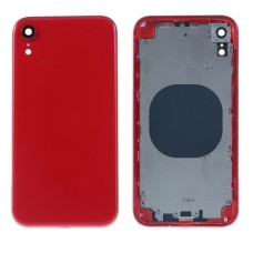 """For iPhone XR 6.1"""" Metal Frame Back Chassis Housing Rear Glass Cover Replacement Red"""