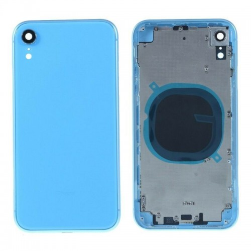 """For iPhone XR 6.1"""" Metal Frame Back Chassis Housing Rear Glass Cover Replacement Blue"""