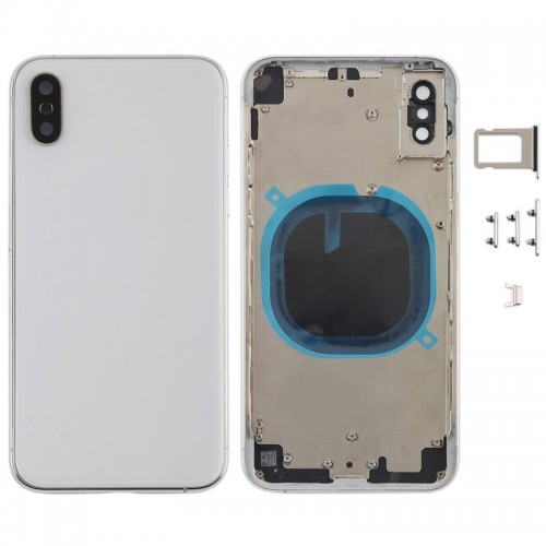 For Apple iPhone X Metal Frame Back Chassis Housing Rear Glass Cover Replacement White