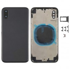For Apple iPhone X Metal Frame Back Chassis Housing Rear Glass Cover Replacement Black