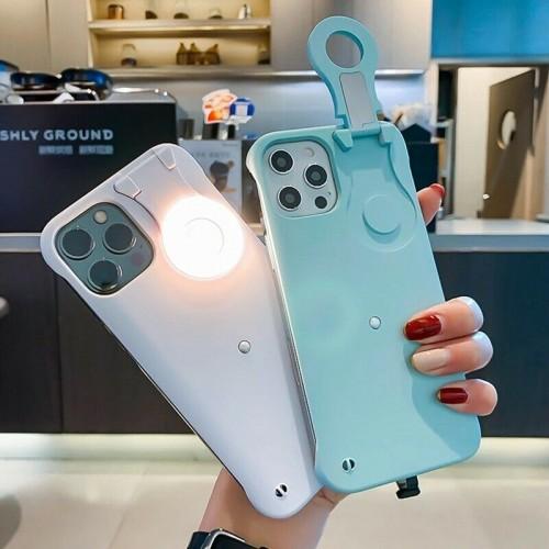 Selfie LED Fill Light Ring Flash Case for iPhone 12 / 12 Pro White