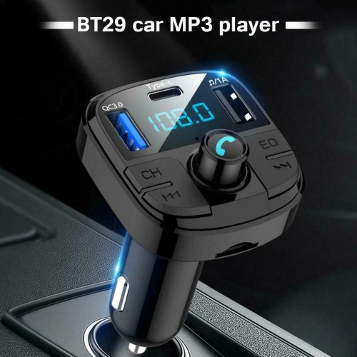 BT29 QC3.0 Bluetooth Car Kit with FM Transmitter MP3 Player Charger