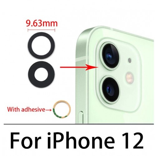 Camera Lens Cover Glass Without Frame For iPhone 12 Black