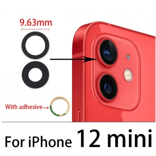 Camera Lens Cover Glass Without Frame For iPhone 12 Mini Black