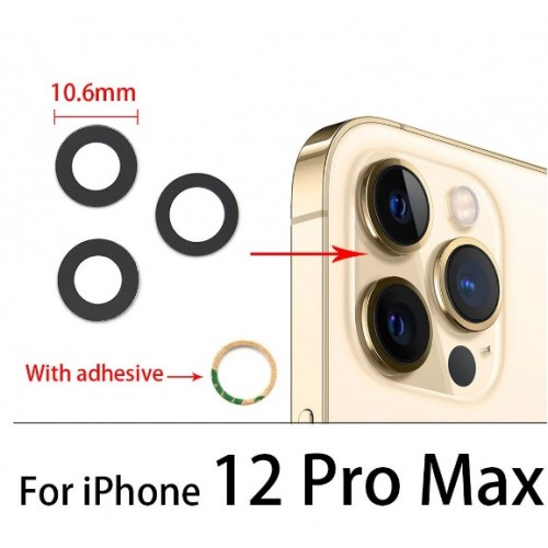 Camera Lens Cover Glass Without Frame For iPhone 12 Pro Max Black