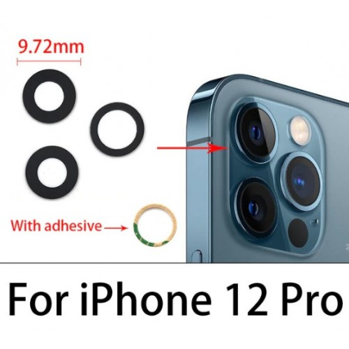 Camera Lens Cover Glass Without Frame For iPhone 12 Pro Black