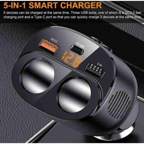 C06 18W PD Multi-port Cigarette Lighter Car Charger Adapter Black