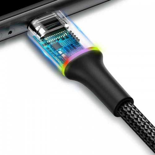 Baseus Braided Lightning USB Charger Cable For iPhone 12 11 XS X 8 iPad 2M Black