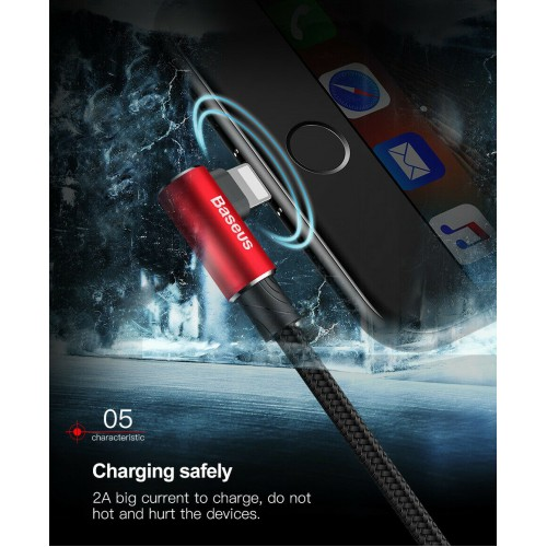 Baseus Elbow L SHAPE Lightning Charging Data Cable For iPhone 12 11 Pro X XS Max 2m Red