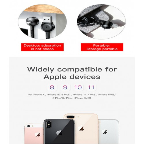 Magnetic Lightning USB Fast Charging Bracket Cable For iPhone 12 11 Pro XR X Max 1m Black