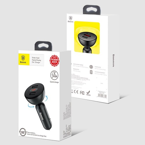 Baseus 360 rotation Daul-USB Digital display Car Charger Black