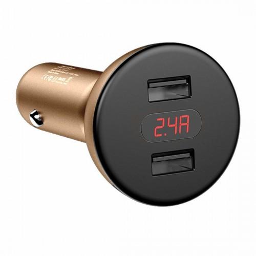 Baseus 360 rotation Daul-USB Digital display Car Charger Gold