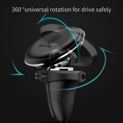 Baseus Magnetic Air Vent Car Mount Holder with cable clip Gold