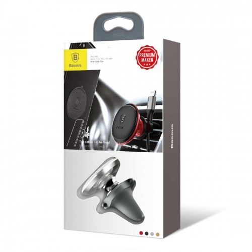 Baseus Magnetic Air Vent Car Mount Holder with cable clip Silver