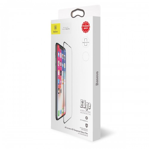 Baseus 0.3mm All-screen Arc-surface Anti-bluelight Tempered Glass Film For iPX Black