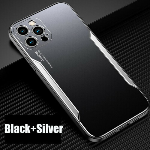 Blade series Metal Case For iPhone 12 Pro Max 6.7 Black Silver