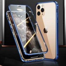 Magnetic Adsorption Metal Front & Back Case For iPhone 12 Mini 5.4 Blue