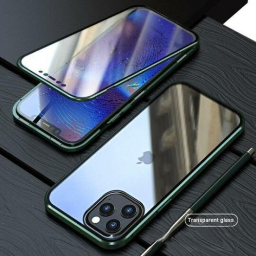 Magnetic Adsorption Metal Front & Back Case For iPhone 12 Pro Max 6.7 Green