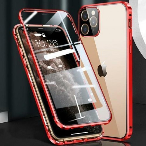 Magnetic Adsorption Metal Front & Back Case For iPhone 12 Mini 5.4 Red
